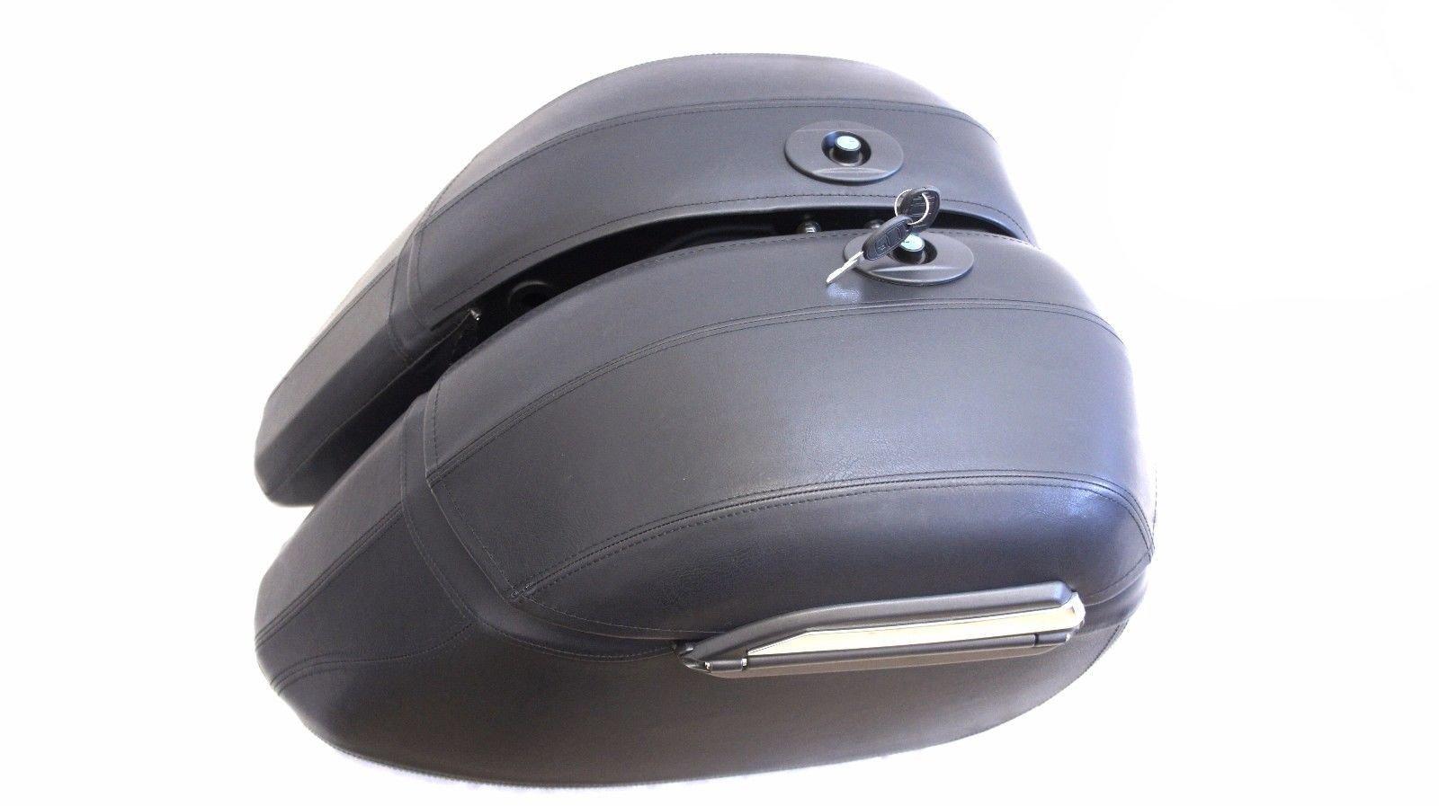 Mutazu Road Star Syle Leather Wrap Hard Saddlebag for Cruiser Motorcycles