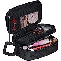 Trousse de Toilette Femme Voyage,Trousses à Maquillage Portable (9 * 5.5 * 4 inch), 2 Couche Grande Capacité Sac à Cosmétiques avec Brosse Compartiment et Miroir
