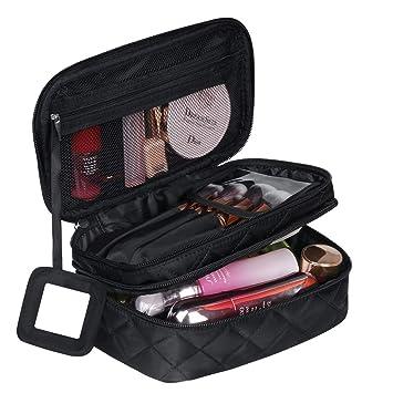 pas cher pour réduction 50d4b 89445 Trousse à Maquillage Femme Voyage,Trousse de Toilette Portable (9 * 5.5 * 4  inch), 2 Couche Grande Capacité Sac à Cosmétiques avec Brosse Compartiment  ...