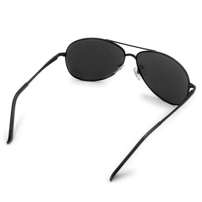 Mode Lunettes de soleil polarisées pour homme femme/métal aviateur pilote Lunettes de pêche extérieur Sports Eyewear UV400 (Black) q6oKs