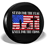 Kneel for The Cross Spare Wheel Tire Cover Funny Waterproof Tire Protectors Novelty ULNL Stand for The Flag
