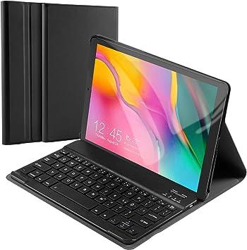 Happon Teclado Bluetooth para Samsung Galaxy Tab A 10.1 pulgadas, [QWERTZ alemán], funda de teclado, Adsorción magnética, soporte para tablet y tablet ...