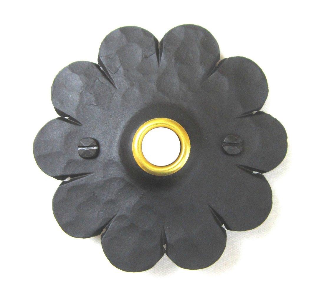D3 Spanish style mediterranean rosette wrought iron doorbell cover (Black)