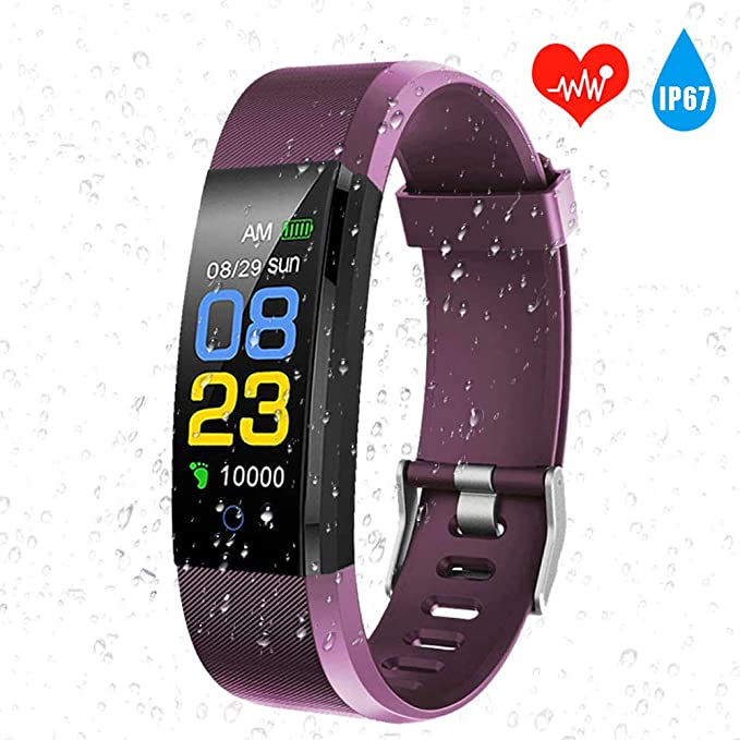 AIGUO Pulsera Actividad,Impermeable IP68 Pulsera Inteligente Mujer,Reloj Fitness Hombre,(Podómetro,Sueño) Monitor de Ritmo cardíaco para Reloj ...
