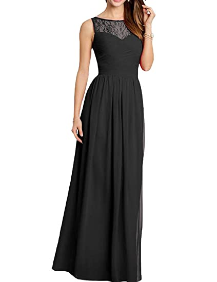 Vickyben Womens Round Neck Lace Chiffon Prom Dress Evening Gown Bridesmaid Dress long
