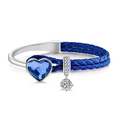 Le Premium® Braided Leather Rope Bracelet with Heart Shaped Crystals from  Swarovski -Denim Blue  Amazon.co.uk  Jewellery dddea2e51