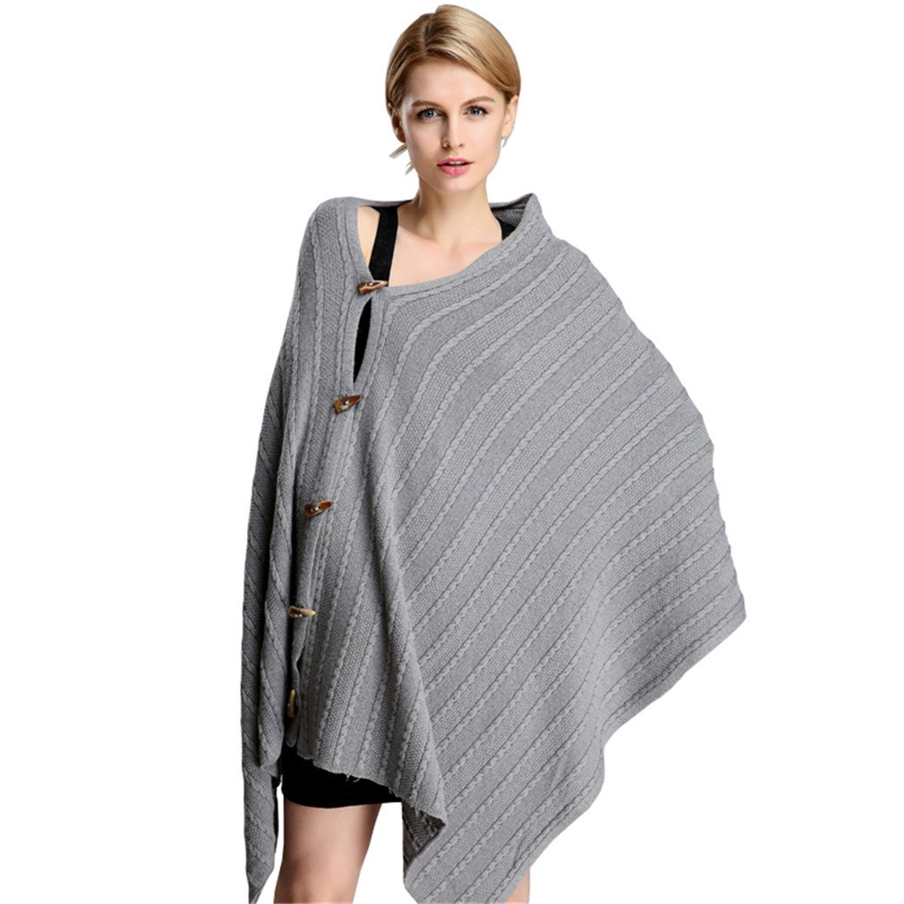 Sexybody Women's Solid Cashmere Shawl Cape Button Blanket Winter Scarf Wrap Poncho