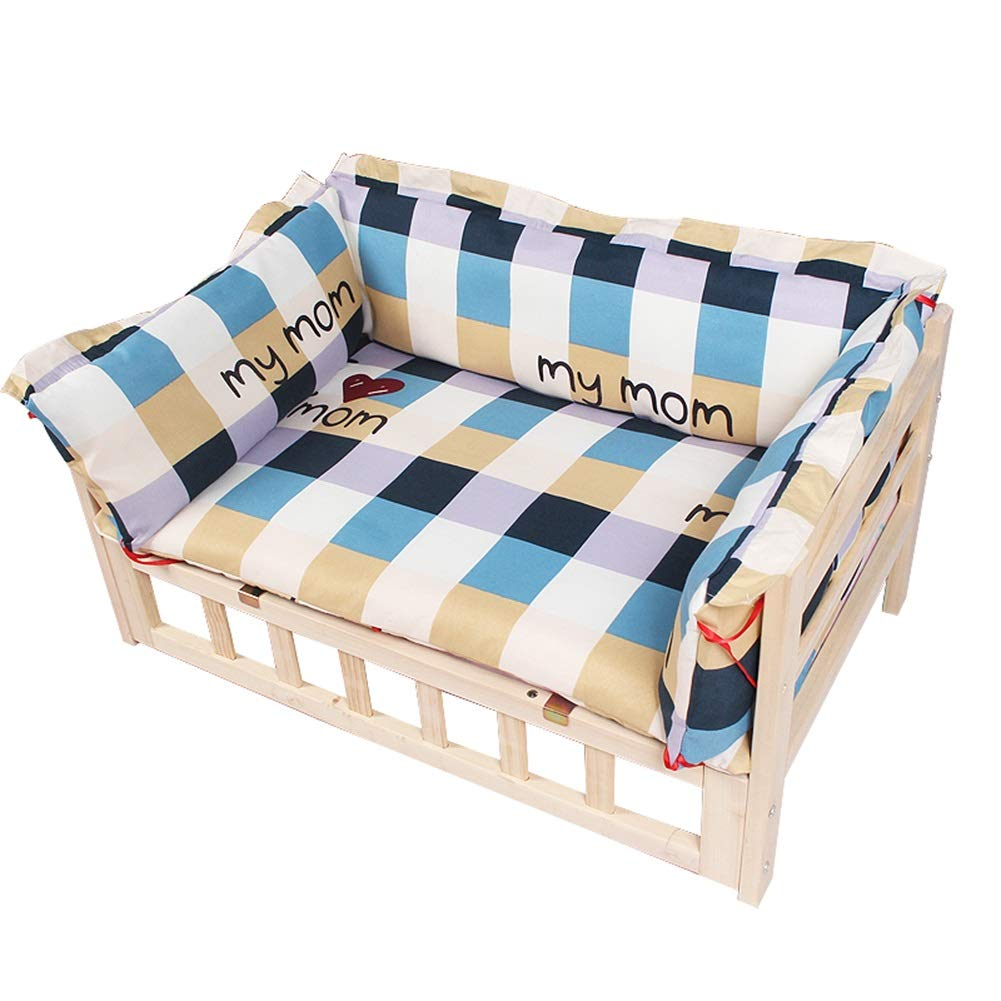 80x50x40cm Pet Cot with Thick Pad, Elevated Pet Bed Frame for Large Medium Dogs, Four Seasons Universal Dogs Beds (Size   80x50x40cm)