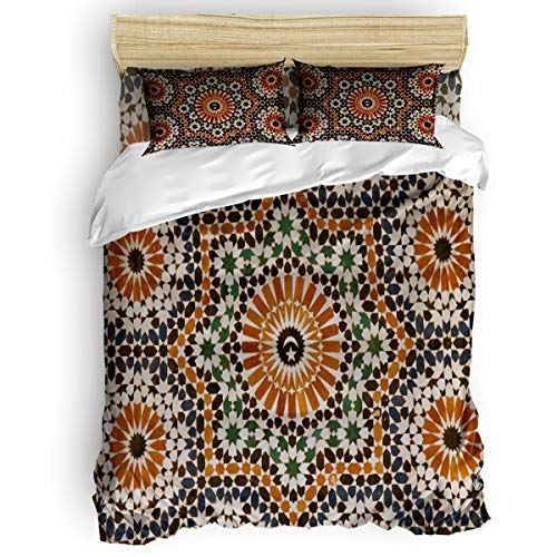 (Arts Language Home Duvet Cover Set Full Size for Kids/Adults/Teens Morocco Flower Tile Texture Soft 4 Pcs Bedding Set with Duvet Cover, Fitted Sheet, Pillowcases)