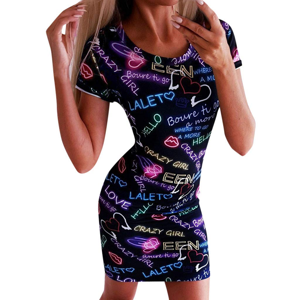 Connia Women Summer Short Sleeve Dress Sexy Letter Print Ladies Holiday O-Neck Party Dress (L)