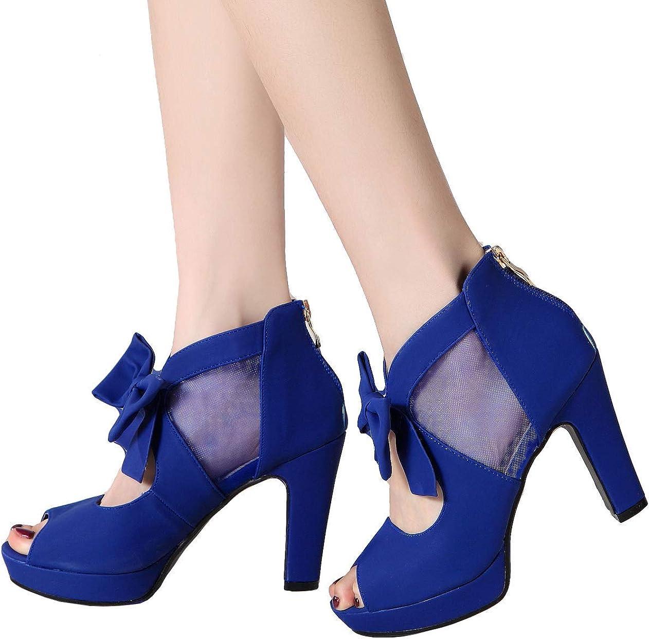 GATUXUS Open Toe Women Platform High Heel Shoes Bows Strappy Sandals