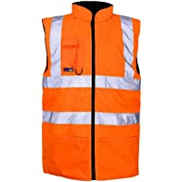 Rimi Hanger Unisex Reversible Hi Vis Fleece Bodywarmer Adults High Visibility Zip Up Gilet Small-4XLarge