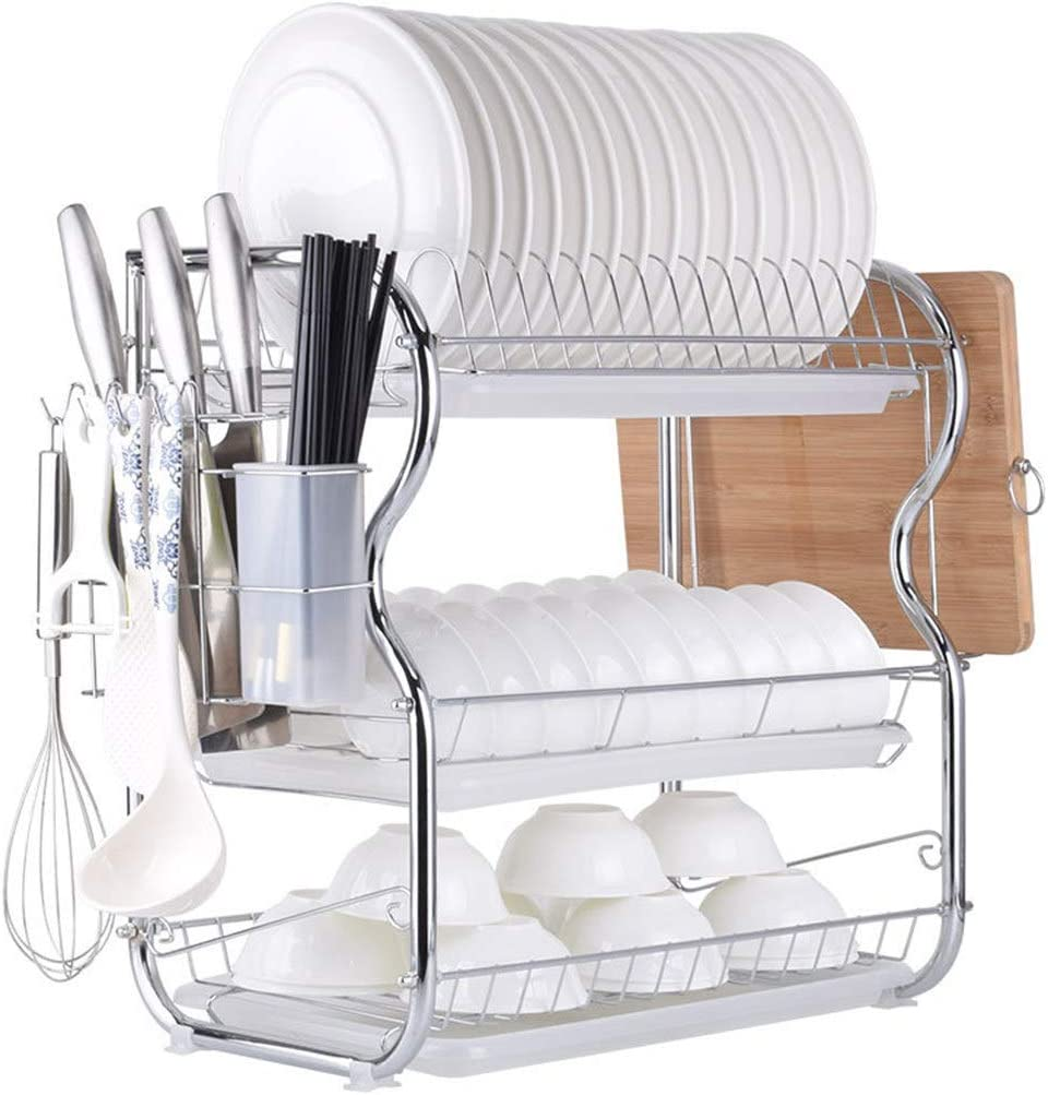 Multifunctional 3 Tier Dish Drying Rack Stainless Steel Kitchen Sinkware Dish Rack Kitchen Supplies Drying Frame Quick Dry With With Drainboard Kitchen Dining