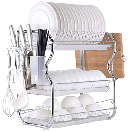 Multifunctional 3-Tier Dish Drying Rack, Stainless Steel Kitchen Sinkware Dish Rack Kitchen Supplies Drying Frame, Quick Dry with with Drainboard