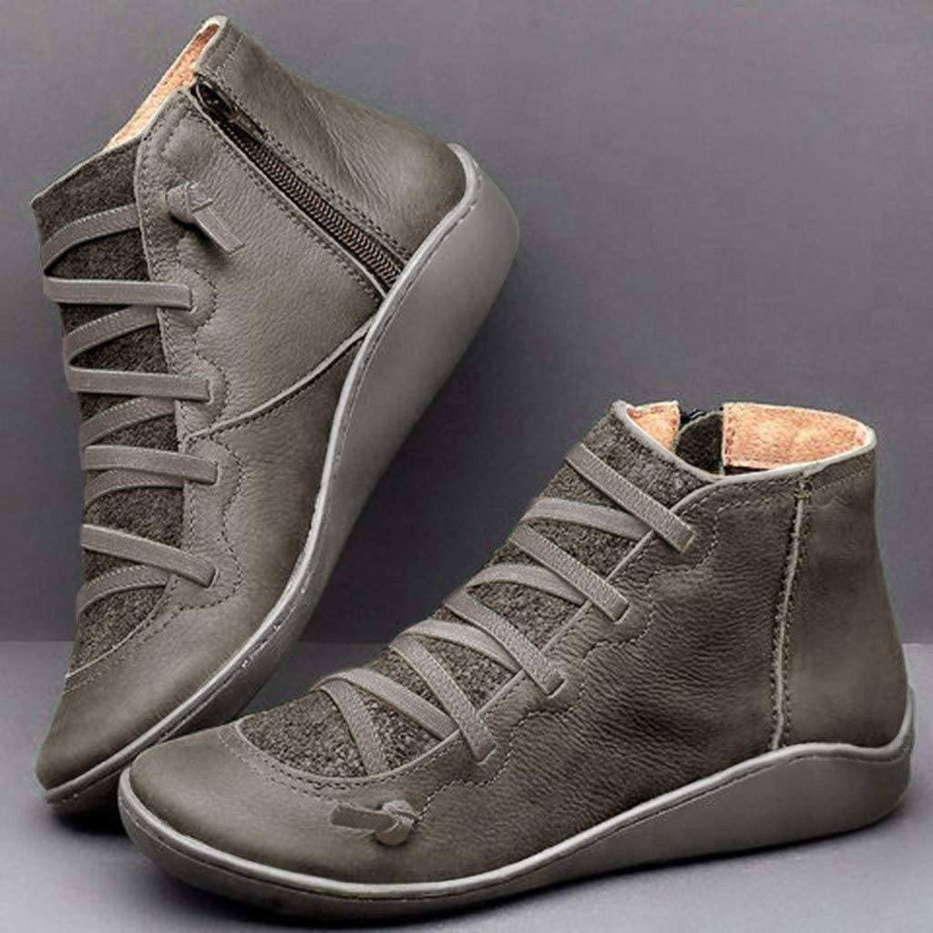New Arch Support Boots with Side Zipper Leather Comfortable Booties Casual Shoes