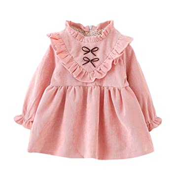 b836b2cb5 Image Unavailable. Image not available for. Color: Baby Girls Princess  Dresses Long Sleeve Wedding Christening Birthday Party Dress (12-18 Months