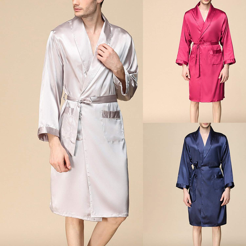 Male Summer Faux Silk Kimono Robe Men Fashion Solid Bathrobe Sleepwear Pajamas Casual Cardigan Clothing Robe
