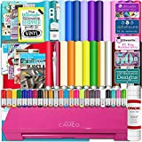 Silhouette Cameo 3 Glitter Pink Bluetooth Starter Bundle with 26 Oracal 651 Sheets, Transfer Paper, Guide, Class, 24 Sketch Pens