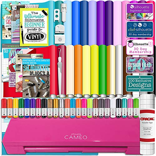 (Silhouette Cameo 3 Glitter Pink Bluetooth Starter Bundle with 26 Oracal Vinyl Sheets, Transfer Paper, Guide, Class, 24 Sketch Pens)