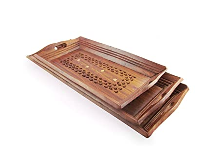 Onlineshoppee Fancy Set Of 3 Wooden Serving Tray Set With Brass Work