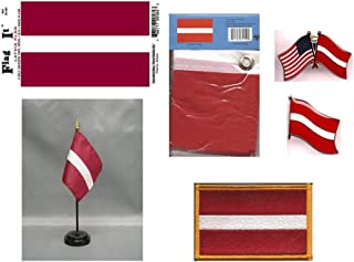 Latvia Heritage Flag Pack - Includes a Latvian 3x5' Flag, Vinyl Flag Decal, One Single & One Double Friendship Flag Lapel Pin, Miniature Desk Flag with Stand & One Iron-On Flag Patch