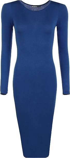 WearAll Damen Langarm Kleid Gr. M L 38-40, königsblau
