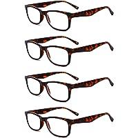 Inlefen Lentes de lectura de marco completo para hombres y mujeres Lentes de resina rectangulares Paquete de 4 pack gafas de lectura 1.0 1.5 2.0 2.5 3.0 3.5