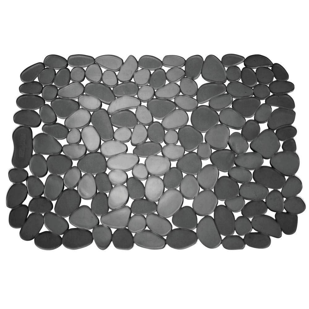 mDesign Adjustable Kitchen Sink Dish Drying Mat/Grid - Soft Plastic Sink Protector, Cushions Sinks, Dishes - Quick Draining Pebble Design - Includes 1 Saddle, 2 Large Mats - Set of 3 - Black by mDesign (Image #7)