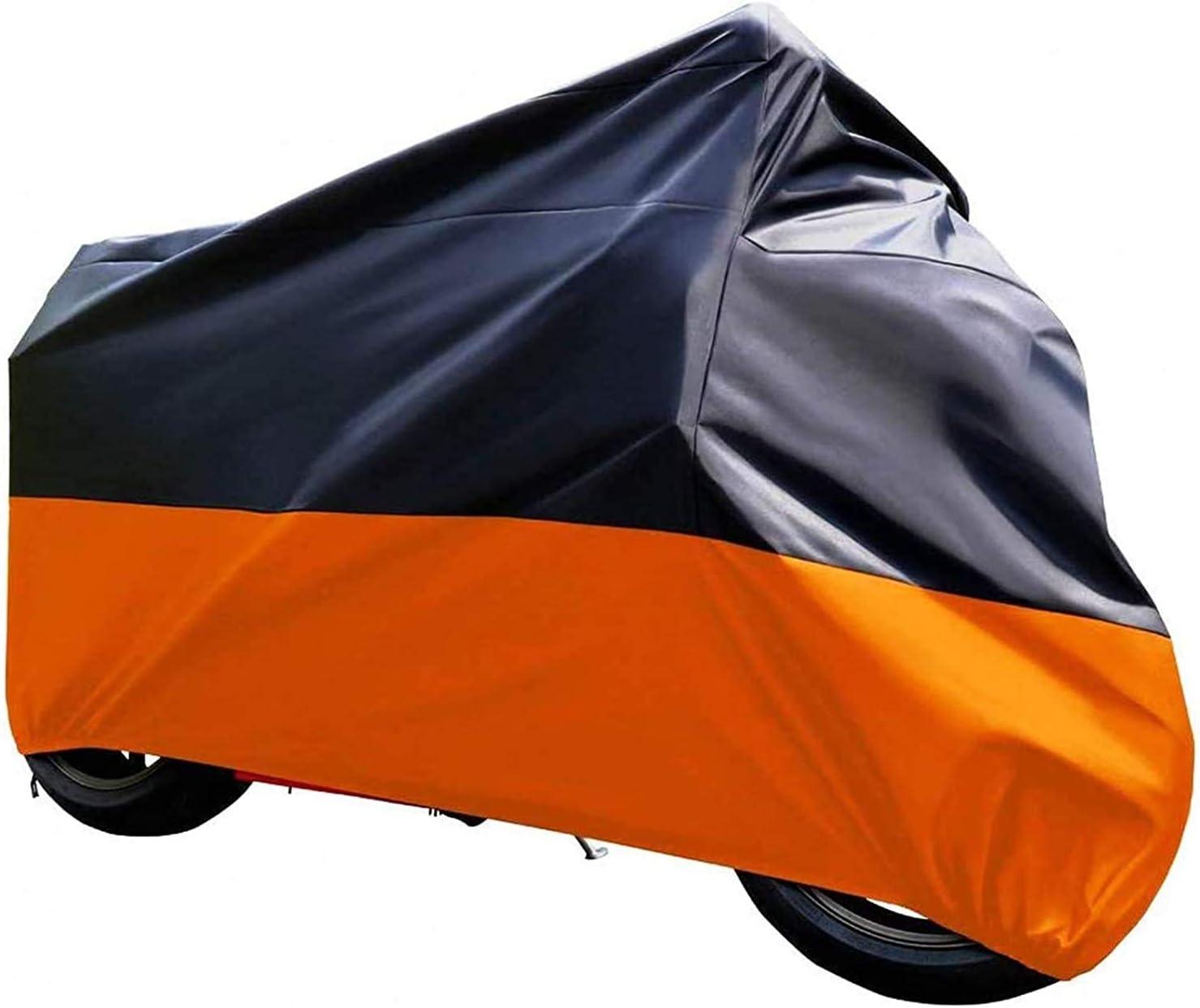 Tokept Black and Orange Waterproof Sun Motorcycle cover (XXL).116
