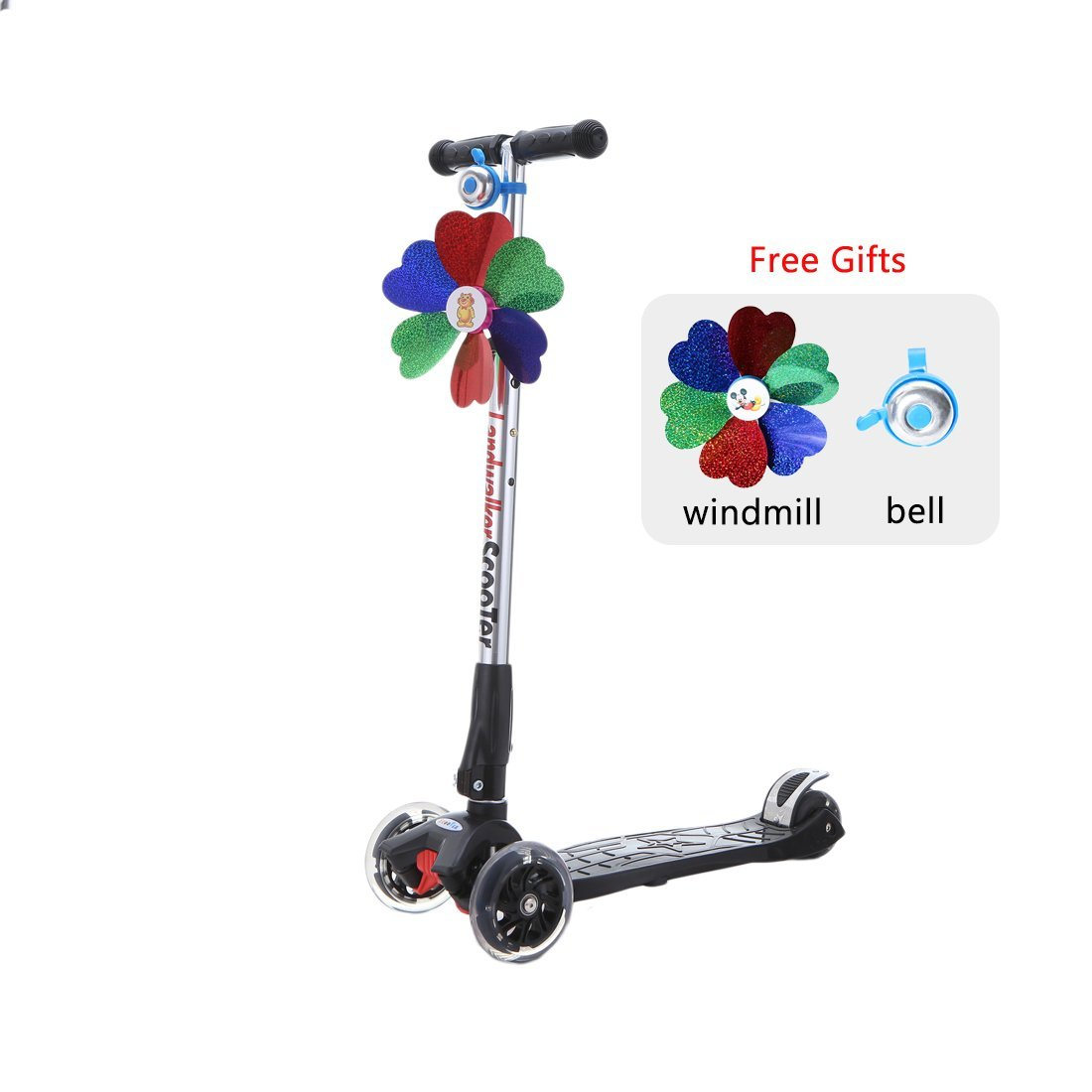 Landwalker Children Scooters Foldable Kick Scooter Adjustable Scooters Nonslip Glider 3-Wheel Scooter with PU LED Light up Wheels(Free Bell)
