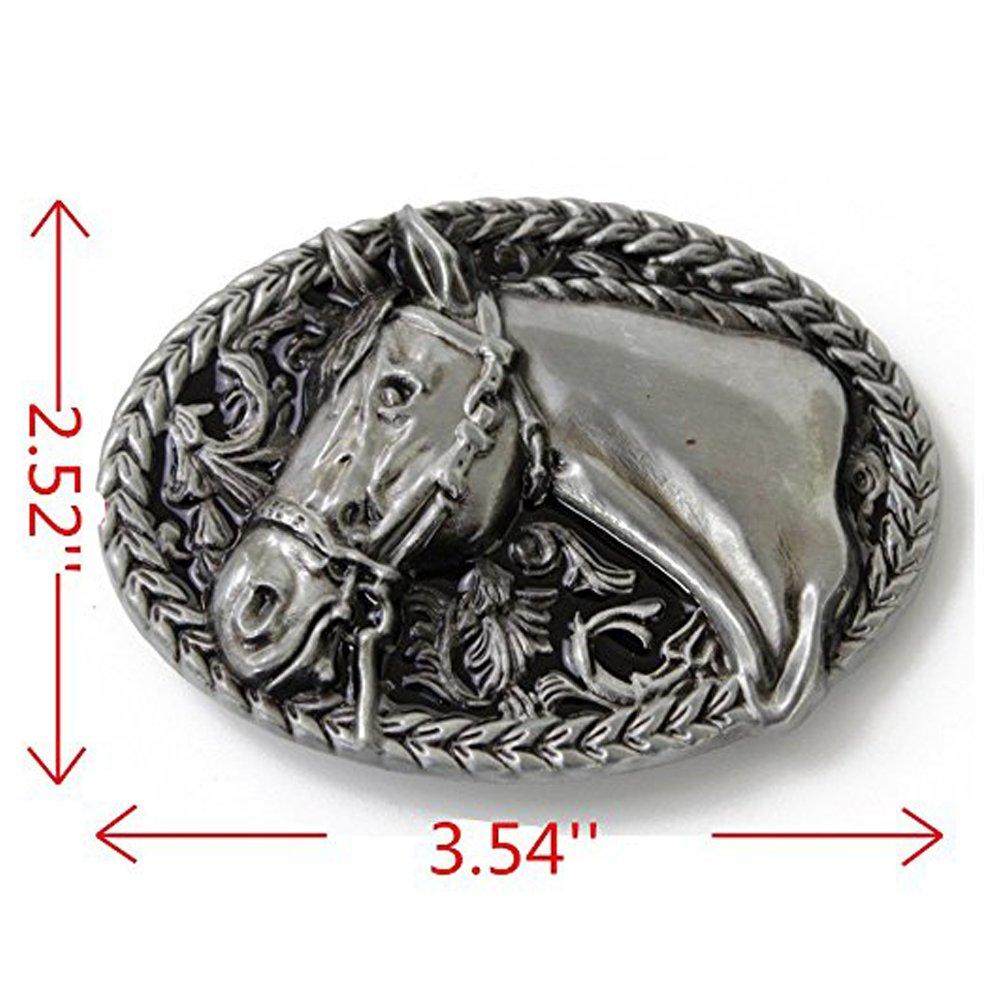 LKMY Fashion Mens Womens Vintage Native 3D Horse Belt Buckle,Western Cowboy Oval Scroll Belt Buckle horse1