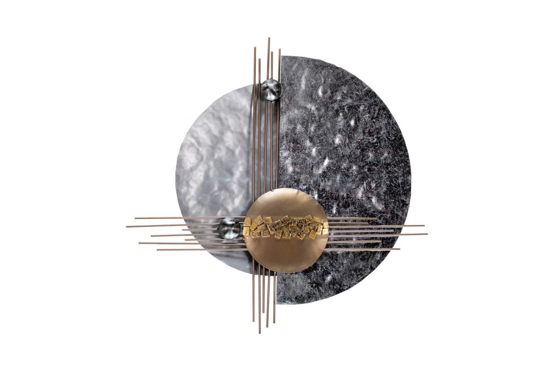 KunstLoft Extravagante Metall Wandskulptur 'Die bessere Hälfte' 60x60x7cm | Design Wanddeko XXL handgefertigt | Luxus Metallbild Wandrelief | Abstrakt Formen Kupfer Silber | Wandbild modern