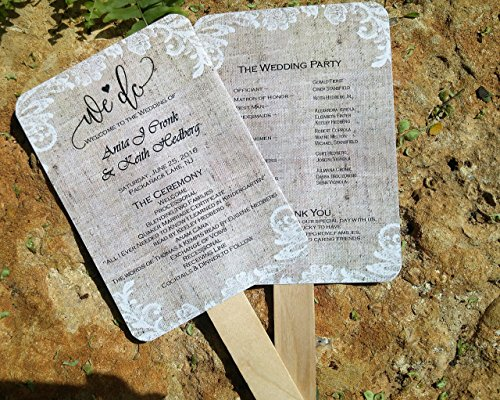 Personalized Wedding fans/ Wedding fans for guests/Wedding program fans/Wedding favors/Rustic Wedding/Burlap and Lace (Program Fans)