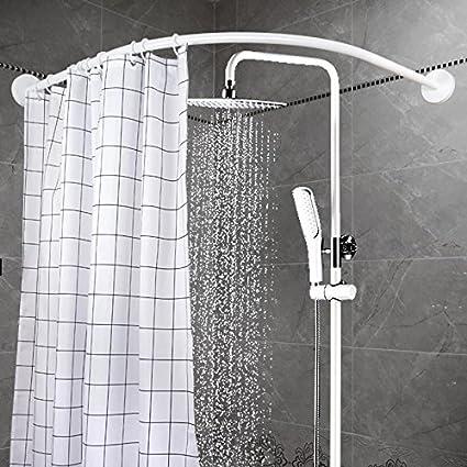 Amazon.com: YOLOPLUS Curved Shower Rod Wall Mount Curved Bathroom ...