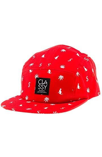 6265dd2565e Amazon.com  Classy Brand Money Weed Pussycat 5 Panel Camper Hat Cap One  Size Red  Clothing