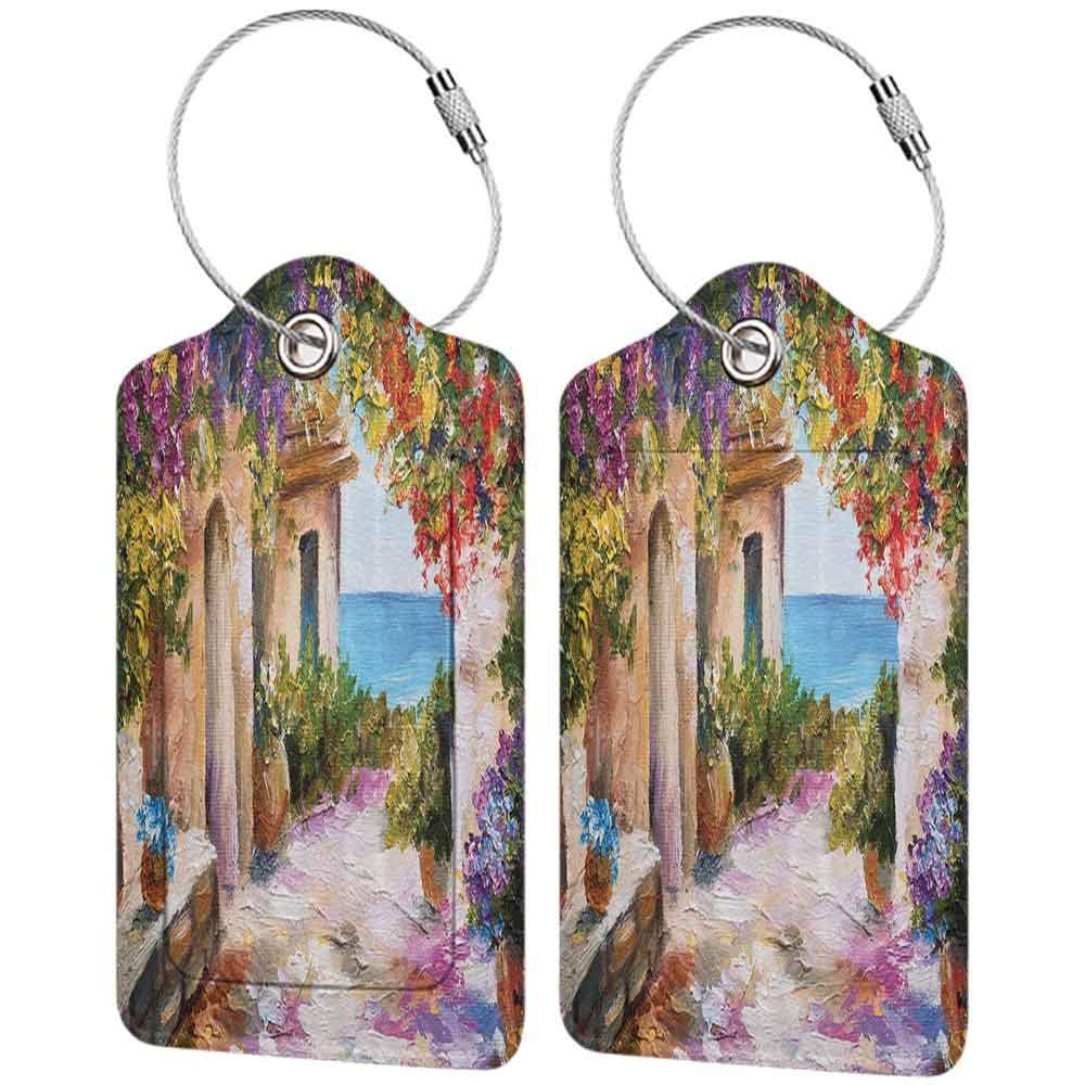Modern luggage tag Lakehouse Decor Collection Retro Greek Houses in an Ancient Village near Sea Colorful Plants and Flower Gate Oil Painting Paprika Purple Beige W2.7 x L4.6