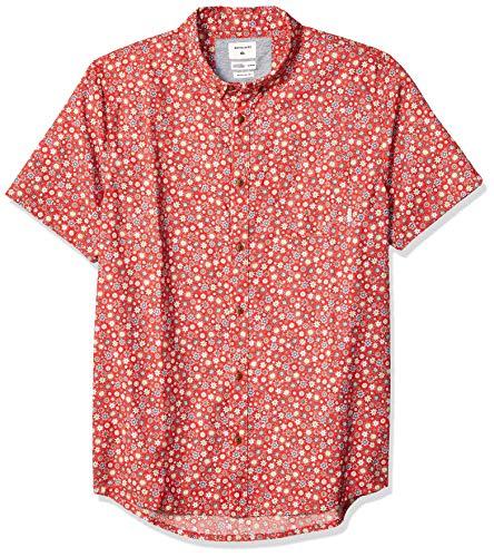Quiksilver Men's Ditsy Dreamer Short Sleeve Woven TOP, high Risk red, - Top Mens Woven Short Sleeve