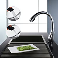 Homelody Robinet Mitigeur de Cuisine 2 Fonctions pour évier Bec pivotant à 360° Avec Douchette Extractible 2 Jets A Débit Variable En Laiton Design Col de Cigne d'Elégance