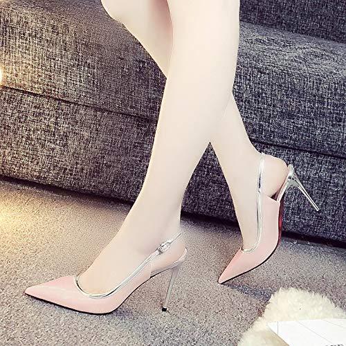 9 Zapatos Boca Cm Mujer Alto Superficial Tacón Delgado Lbtsq Sexy Sandalias De Tacon Pink punta qxwgHdZX
