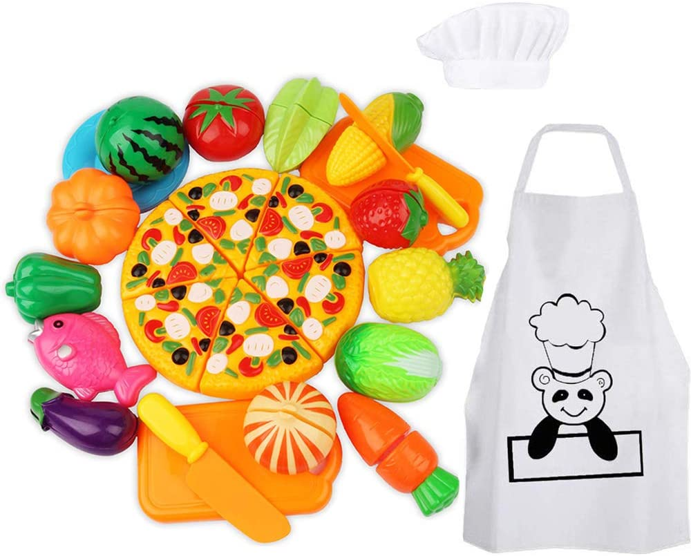 WoBoSen 28 Piezas Cocina Juguete Niños Juguete Plástico de Corte de Vegetales de Fruta Juego de imaginación Juego de rol de Niños y Sombrero de Chef Delantal (Juguetes de Cocina)