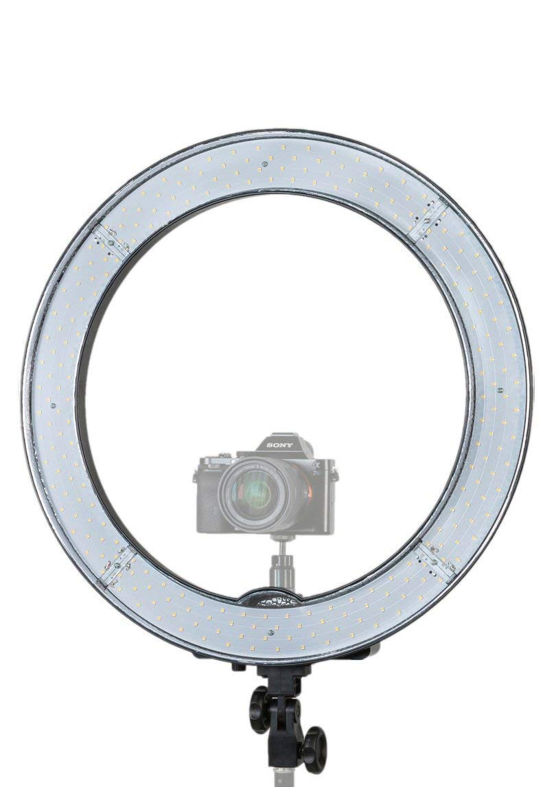Prismatic 18'' Halo Ring Light LED Dimmable 55W 5500K, Ballhead Mount for Camera, Carry Case, Diffusion Plates by Prismatic Lighting