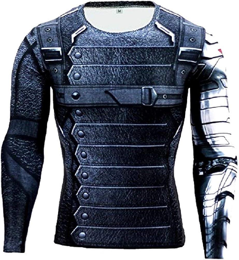 Maglia T-Shirt Sportiva Manica Lunga con Stampa Capitan America per Uomo Yjy Inception Pro Infinite 16028 003