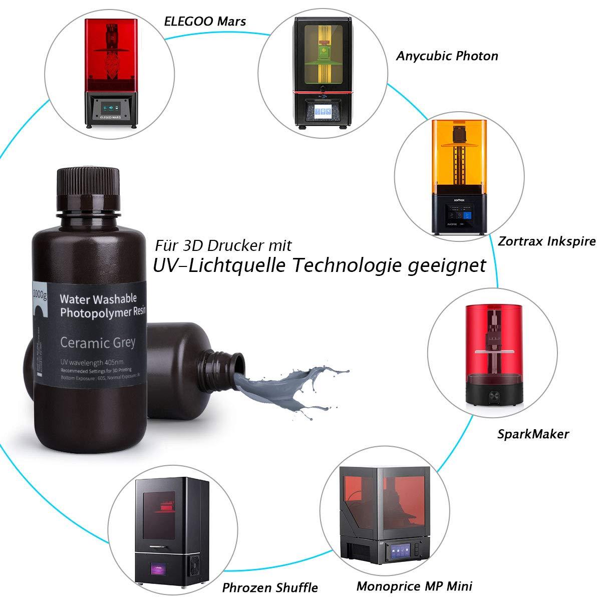 ELEGOO - Resina rápida lavable con agua, para impresora 3D, LCD ...