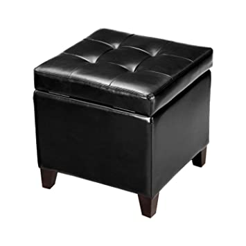 Adeco Black Bonded Leather Square Tufted Cubic Cube Storage Ottoman Footstool 18u0026quot;  sc 1 st  Amazon.com & Amazon.com: Adeco Black Bonded Leather Square Tufted Cubic Cube ... islam-shia.org