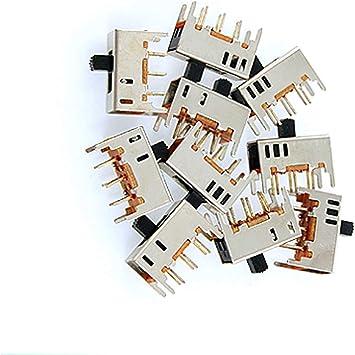 10 Pcs 2 Position DPDT 2P2T Panel Mount Vertical Slide Switch 6 Pin 0.5A 50V DC