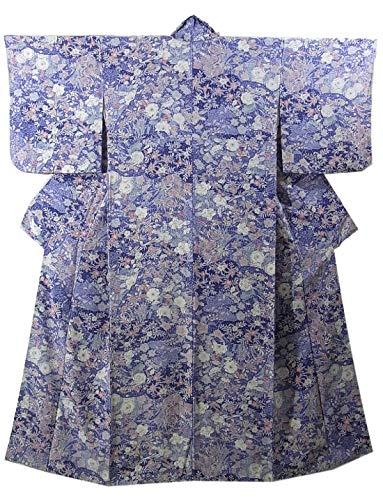 デッドロック協定聖人リサイクル 着物  小紋 正絹 袷 辻が花模様 裄64cm 身丈156cm