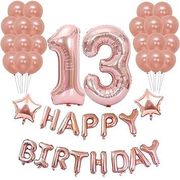 Weimi 13 Años Decoración de Cumpleaños para Niñas Rosa de ...
