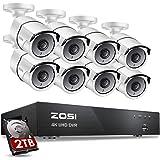 ZOSI 4K Kit de Cámara de Vigilancia 8MP Grabador DVR con 8pcs Cámara Bala de Seguridad Exterior, 2TB Disco Duro
