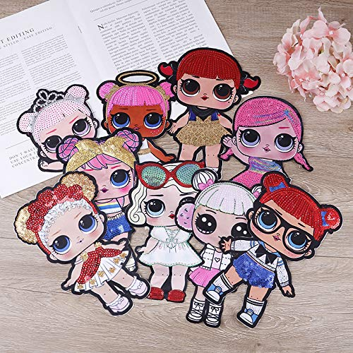 Cartoon Sewing Patch Doll Girls Sequin Printing Embroidered Iron-on, sew-on, Patch, Applique