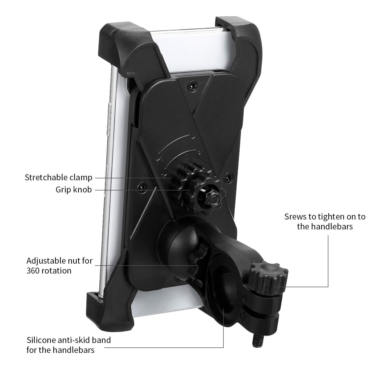 Phone Holder for Bike,Non-Slip Bike Phone Mount Holder,Bike Handlebar Phone Mount with Lock Knob for Iphone 7,6,6s,5,5s Samsung Galaxy S7 S6 Edge S5 S4 Nexus and Others From 4 to 7 inches